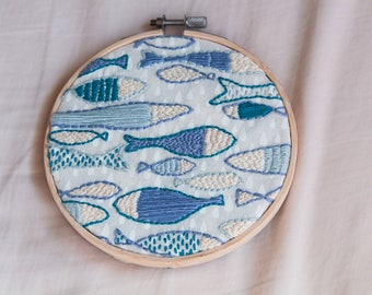 Blue Fish Hoop Art Embroidery Wall Hanging