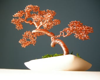 Bonsai Wire, Wire Tree, Slanting Bonsai style (Shakan), Best gifts for him, Office gifts, Gift for her