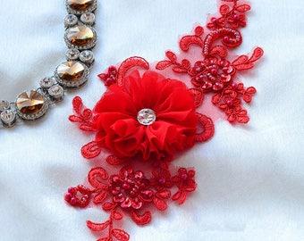 Red Bridal Lace Applique, Bridal Piece Lace, Bridal Alencon Lace, Red Embroidery Lace, Red Beads Bridal Lace Applique