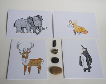 Geometric Animals -Set of 4