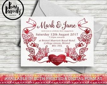 Love Doves Wreath - Luxury Customised Engagement Party Invitations (Printed & Digital)