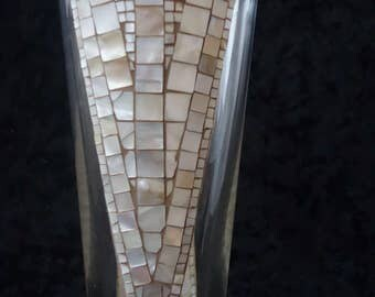 """Harmony"" with mother of pearl mosaic glass vase"