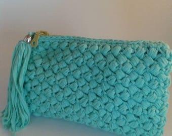 Handmade crochet blue pochette