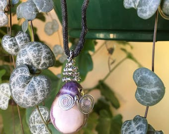 Handmade wire wrapped amethyst crystal