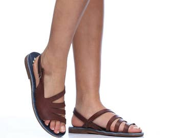 Brown Casablanca Leather Sandals, Handmade Leather, Women's Leather Flats, Strappy Summer Sandals