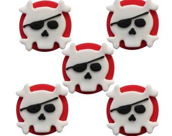 Edible Skull Crossbone Pirate Sugar Cake Topper Cupcake Decoration
