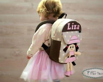Tessy Swinging legs Backpack, kids backpack, backpack children, Doll backpack, Toddler backpack