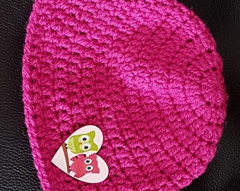 Hand made baby girls pink beanie hat with owl button