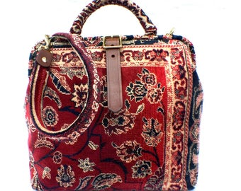 Carpet Shoulder Bag, 'Red Ziegler', Designed and Hand Made in England,  Free Shipping Worldwide!