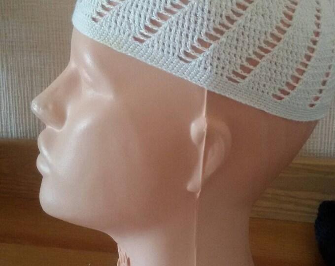 Muslim cap.White muslim hat.Black crochet hat.Summer hat.Dad hat.Cotton hat.Pray hat.Handmade hat.Kufi.Skullcap.Kufi hat men.Crochet kufihat