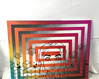 Spray paint painting acrylic tattooed girl