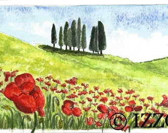 Tuscan Poppy Field Trees - Watercolor Painting by Cherie IZZO