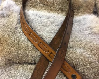 Handtooled leather gun sling
