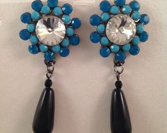 Turquoise and black Drop earring