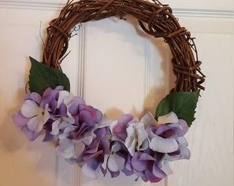 Hydrangea wreath, floral wreath, flower decor, purple flowered wreath