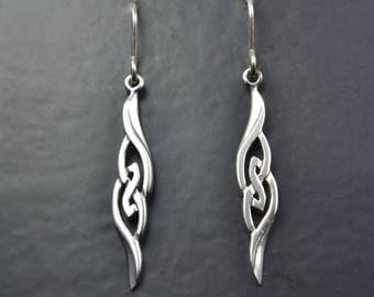 Celtic Design Sterling Silver Earrings with Celtic Knot