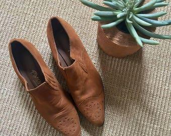 Brown Suede Western Style Booties