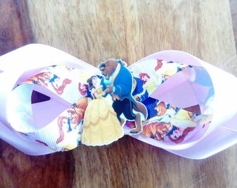 Beauty and the beast bow with French barrette hair clip