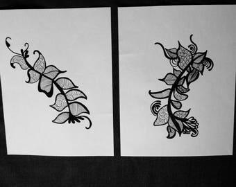 """Flirt Duo.  8x10"""" Henna Inspired Print."""