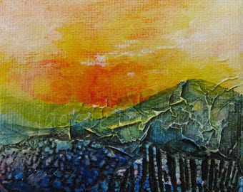 Mini Art Original - Acrylic Painting Canvas Art - Sunset Painting by Jackie Lowman - Textured Art - Gift - Gift for Art Lover