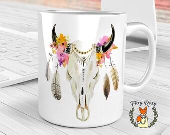 Boho Skull Mug, Watercolor Ceramic, Floral Skull Mug, Floral, Watercolor mug, Boho Style, Boho Feathers, Watercolor Flowers, CM-019