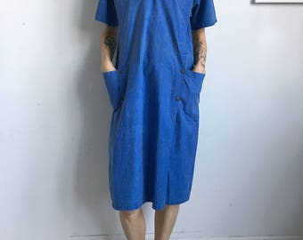 Fabio Morelli (Vintage) Blue Pullover Pocket Dress