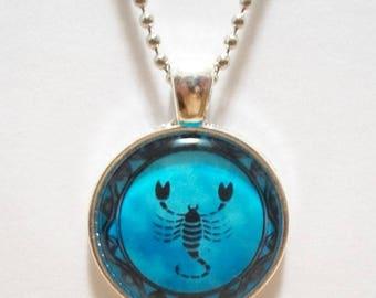 Scorpion Scorpio Glass Cabochon Pendant Necklace SC512