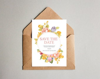 Save The Date, Save The Date Cards, Wedding Save The Date Cards, Save The Date Postcards, Save The Date Wedding Cards, Floral Save The Date