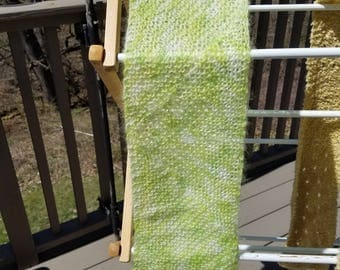 Fun and Fuzzy Lime Greens knited scarf