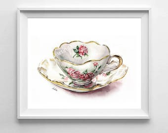 Teacup art print, watercolor painting print, kitchen art