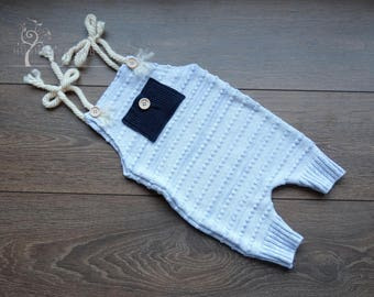Talib Boys Sitter Romper, 6-12 Months, Blue Knitted, Photography Prop, Child Photography, Pocket, Blue, UK Seller, RTS, OOAK
