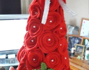 Felt Rose tree/cone