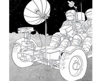 Apollo Moon Mission Landing Driving The Lunar Rover Vehicle Limited Edition Giclee Print NASA Space 12 x 11
