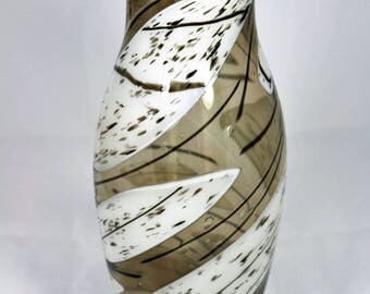Bronze and White Fused Glass Vase
