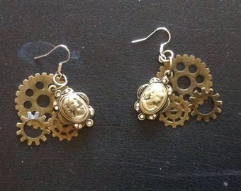 Steampunk Earrings Dangly Cameo and Gears