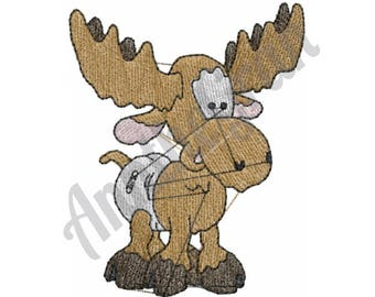 Baby Moose - Machine Embroidery Design, Moose - Machine Embroidery Design