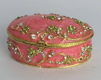 Solid brass and enamel pink trinket box