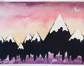 Red Sky - Tiny Mountains; Original Watercolor Painting