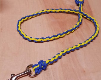 Dog Leash, Paracord Dog Leash #550 Blue and Yellow Paracord