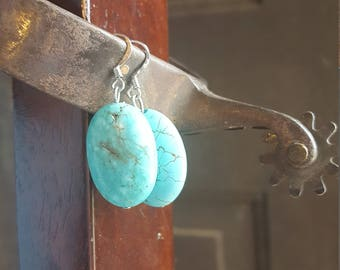 Turquoise earrings, round turquoise, dangles, medium size, country style, boho jewelry