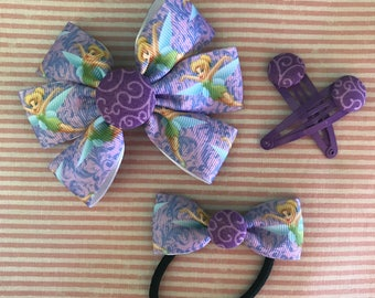 Large Tinker-Bell Barrette Clip + Hair Band + Snap Clips