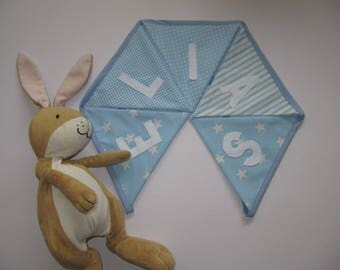Blue personalised bunting- baby blue, baby gift, stars, strips, polka dots