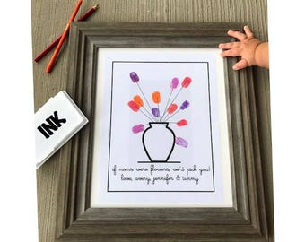 Thumbprint Flower Wall Art for Mom, Mother's Day Gifts, Wall Art, Personalized, Mom, Thumbprint Art *Digital File*