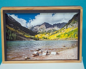 Maroon Bells 3D Hi Res Photo Crafted for effect of realism, redwood frame, ready to hang, signed.