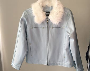 Baby blue faux leather / fur Arizona jacket
