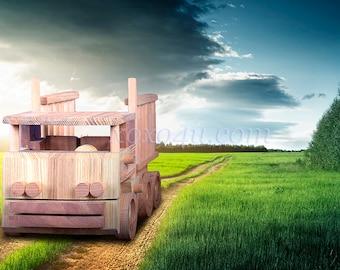 """Деревянная машинка грузовик """"Крепыш"""". Wooden car truck Krepysh"""