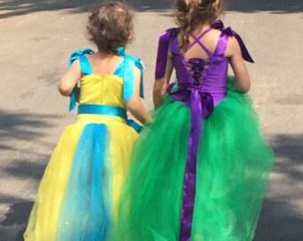 Little mermaid dress. Tu-Tu dress. Birthday dress. Halloween costumes.