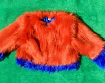 Children's bright faux-fur coat