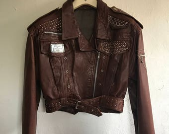 Vintage Leather Studded Jacket Size Medium