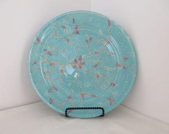 FREE SHIPPING Hand Thrown Cherry Blossoms Ceramic Plate